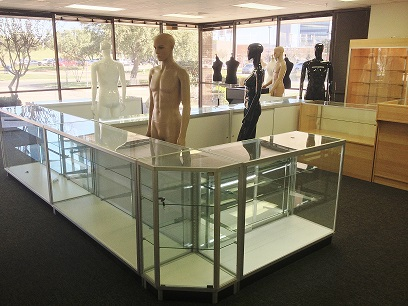 Display cases at TX STore Fixtures in Dallas